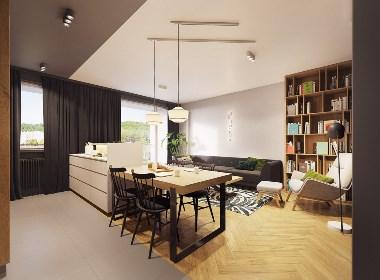 漂亮的色彩搭配:融合了个性与极简主义的小户型公寓设计