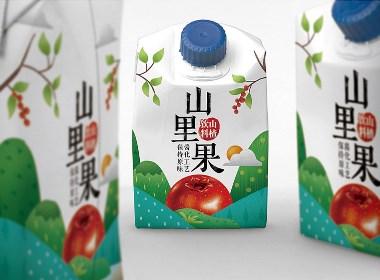嶂石岩山里果山楂饮料包装插画设计以及各规格延伸设计