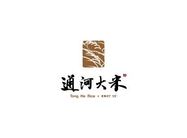 通河大米品牌形象标志logo设计