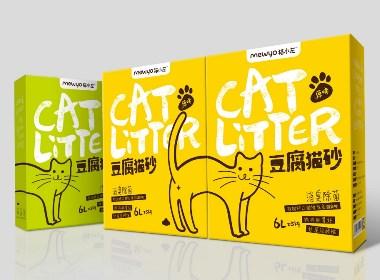 四喜设计-猫小左豆腐猫砂品牌包装设计