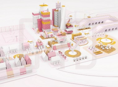 城市小镇C4D卡通建模