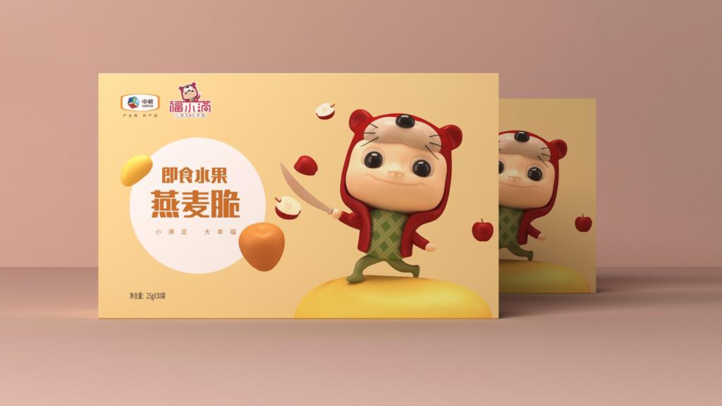 中粮福小满包装 即食水果燕麦脆包装 休闲食品包装设计