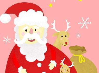 圣诞节扁平噪点风插画 鼠绘插图练习