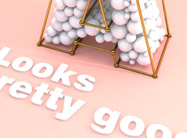 小球填充字母C4D建模