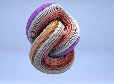 C4D建模扭曲色彩模型