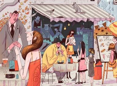 插画师Ovadia Benishu笔下的日常生活插画设计