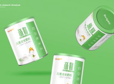 儿童营养成长奶粉产品logo设计/IP形象策划/奶粉罐包装设计