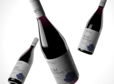 蓝莓酒标签设计 蓝莓酒包装设计 果酒包装设计【广州领秀原创设计】