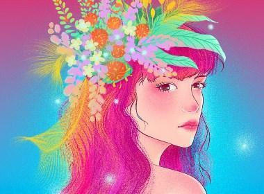 唯美女孩与花板绘插画
