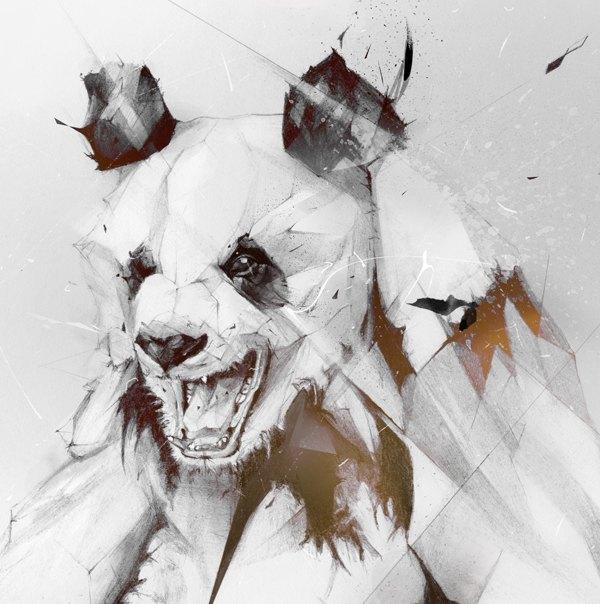 愤怒的熊猫 铅笔素描