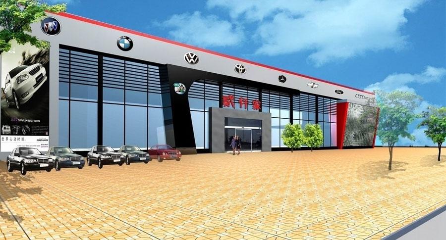 案例4s店建筑外观设计汽车效果图灶板v案例图片