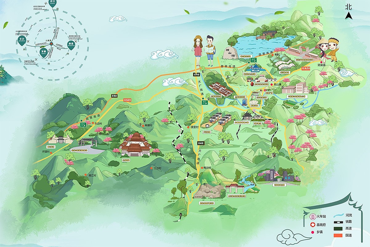 手绘地图设计,旅游地图,导览图设计