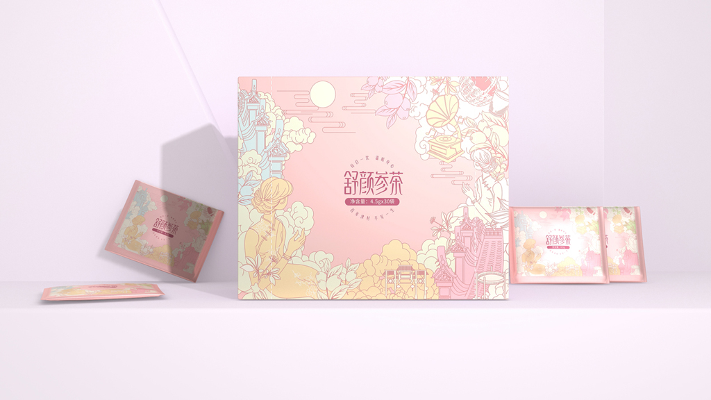 滋补养颜产品包装设计 滋补保健品包装设计 舒颜参茶包装设计