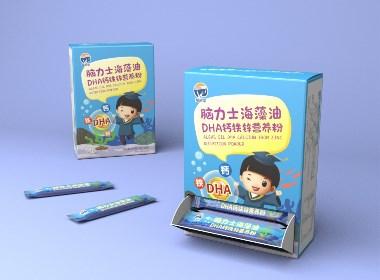 福智星脑力士·海藻油DHA钙铁锌营养粉·包装设计·插画设计(Vegetar已商用)
