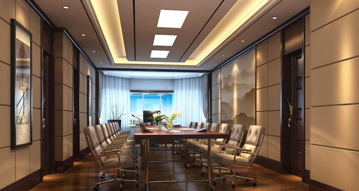 背景墙大全:公司会议室硬包背景墙装修设计效果图