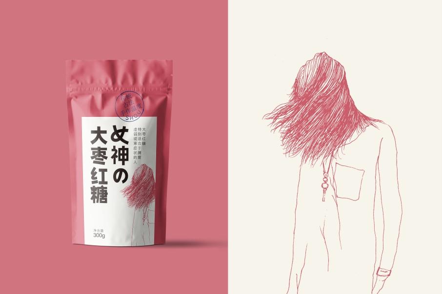女神の紅糖 手工古法 姜汁 大棗 枸杞 阿膠 特產 食品 包裝