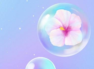 包裹着花朵的水晶气泡