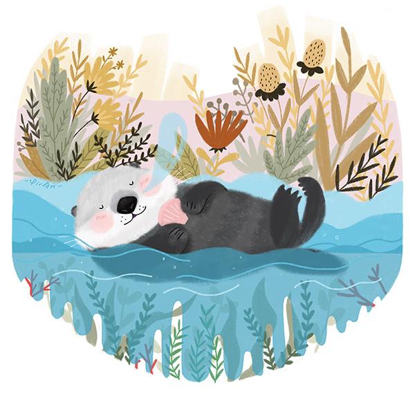 敲可爱的睡在树上的小动物插画设计