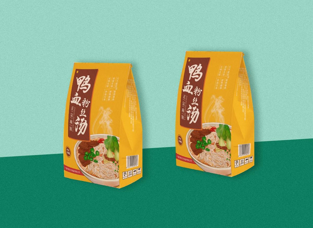 鸭血粉丝汤插画绘制及包装设计