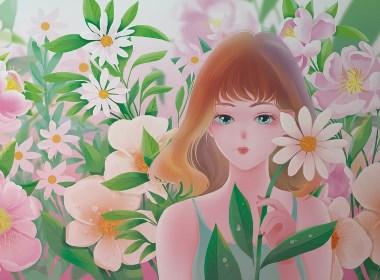 清新少女粉色包装插画