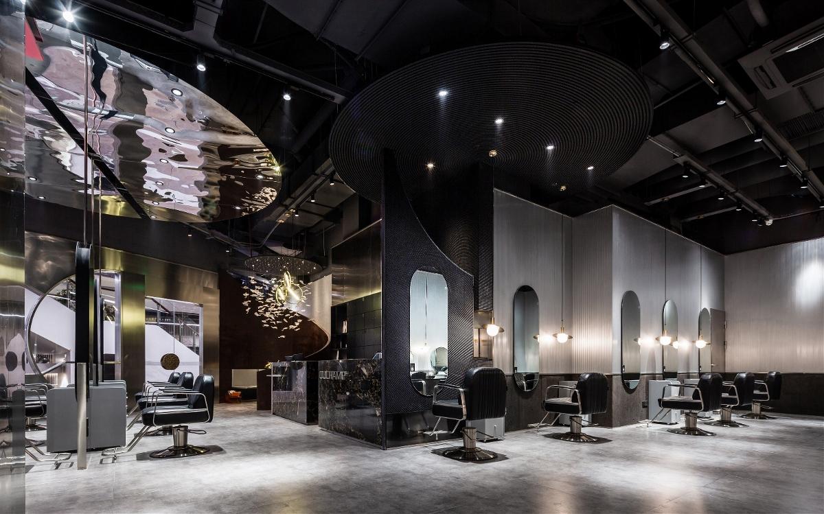 高级黑+粉,暗色系工业风理发店--欧模设计圈
