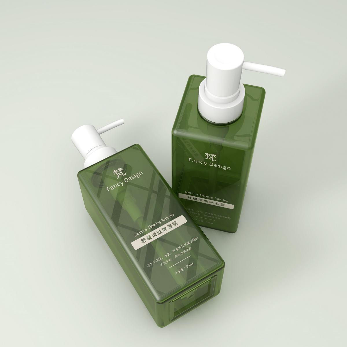 塑料瓶子包装设计 洗发水沐浴露 标签设计