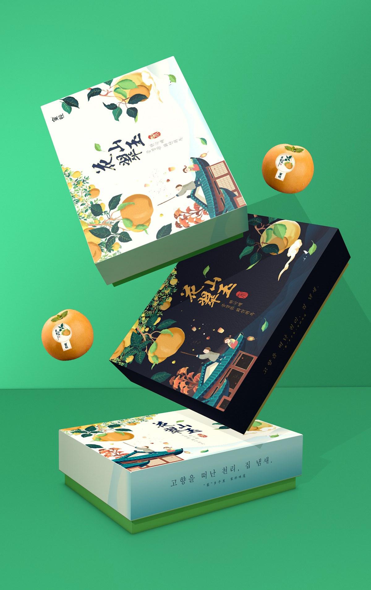 青柚包装设计研究室丨水果梨礼盒包装设计,奏一曲中秋团圆盛宴!