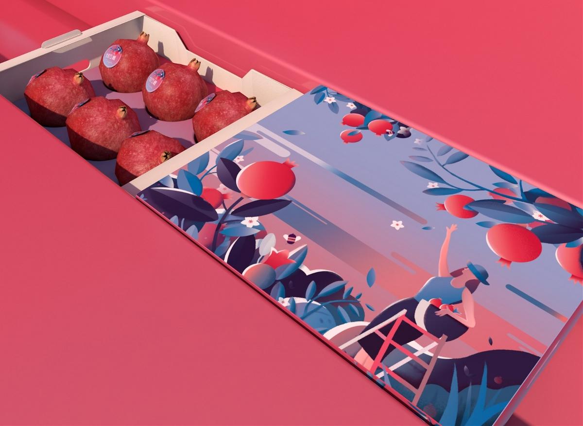原创水果包装设计 展厅布置 丨软籽石榴