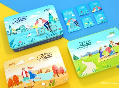 贝拉小镇曲奇饼干包装设计—鲸奇创意