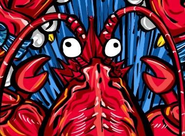 东来也原创插画设计-一代大虾
