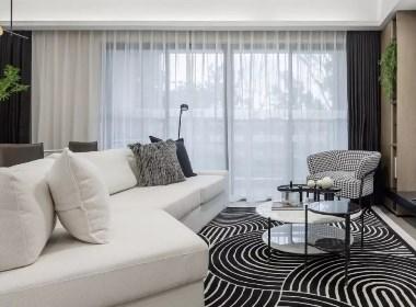 122㎡新潮样板间,黑与白的碰撞   共生形态设计-欧模网