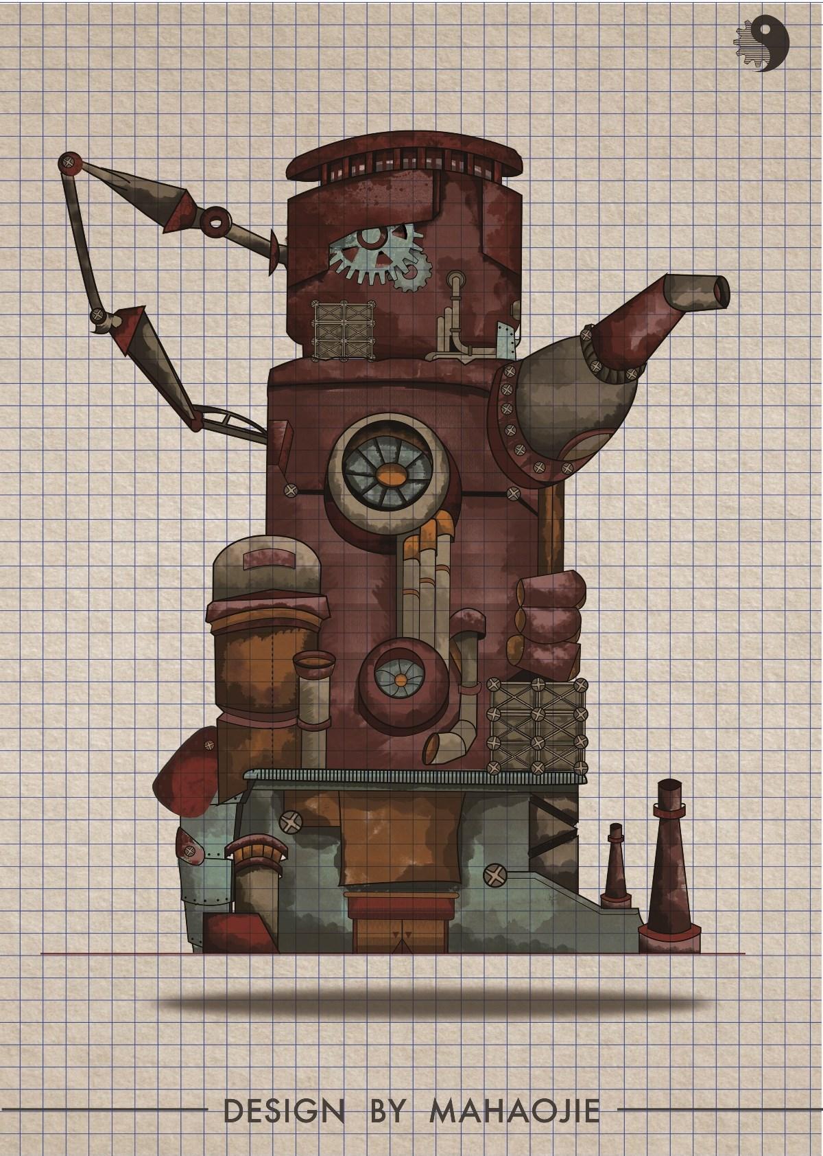 蒸汽朋克包装概念 创意插画