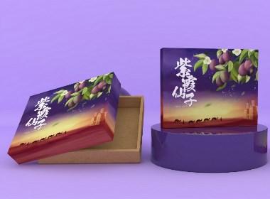 西梅水果包装礼盒、水果通用包装盒、插画食品包装盒