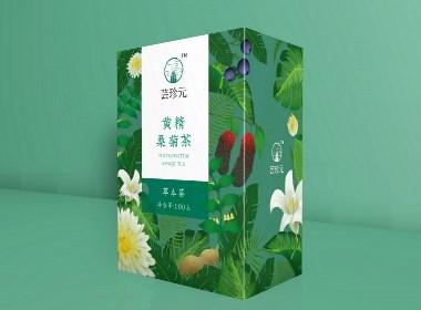 小清新插画代用茶包装设计
