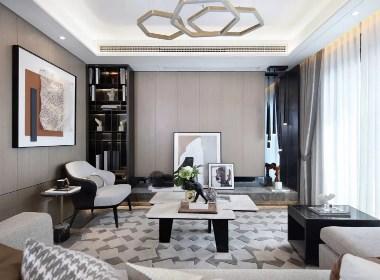 复式B1样板房——现代雅致温润质感--欧模设计圈