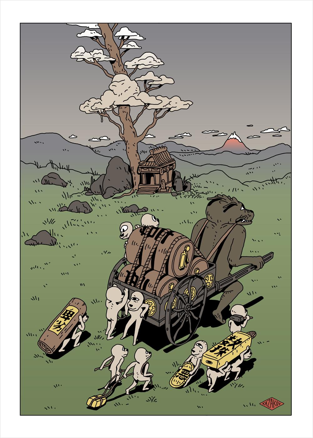 畅游日本后的想象,日式妖魔鬼怪插画设计