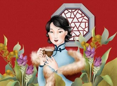 红糖姜茶手绘风格包装