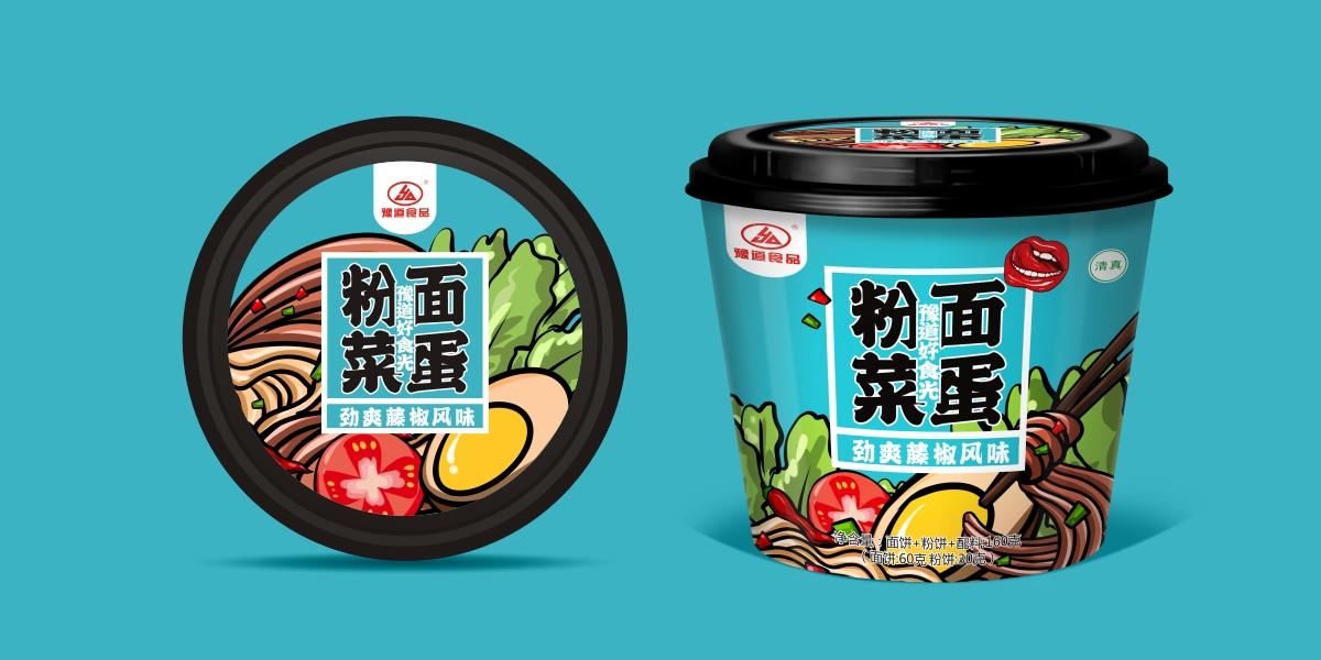 粉面菜蛋包装设计 方便食品包装设计 速食桶面包装设计 粉条方便面包装设计