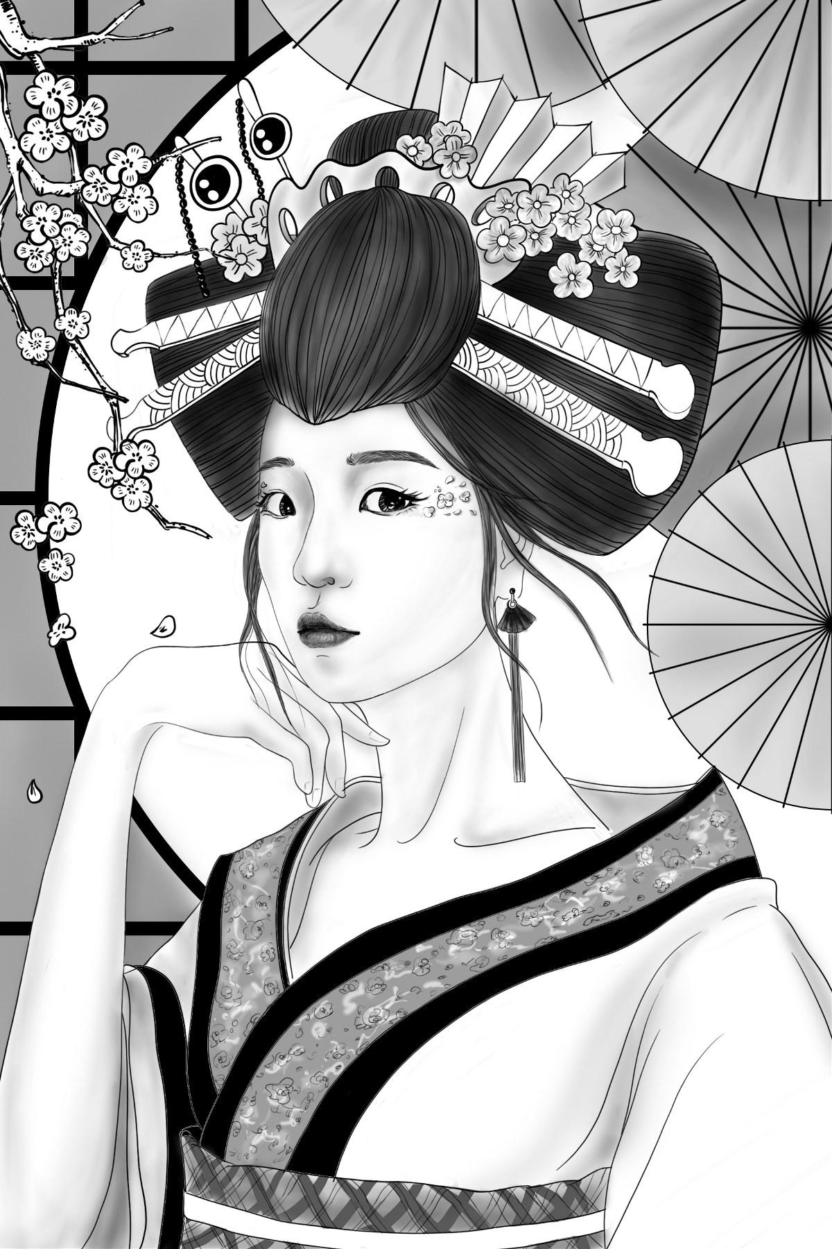 日本艺妓 黑白插画