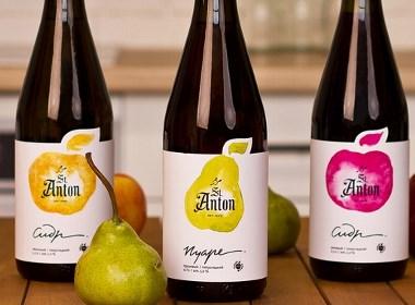 俄罗斯天然苹果酒品牌标签设计