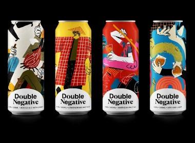 纪念版艺术插画风啤酒标签包装设计