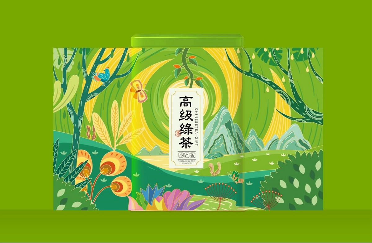 茶叶包装插画设计