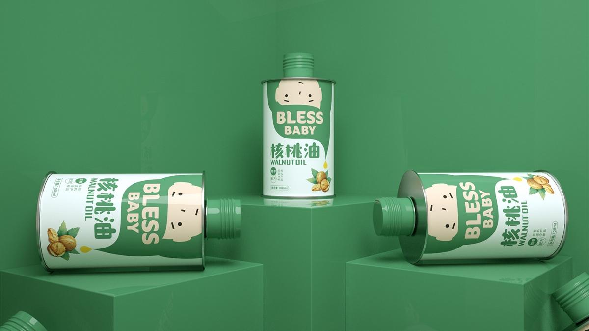 核桃油包装设计、瓶型包装设计、快消食品包装设计
