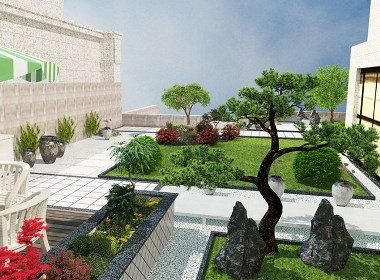 欧式风格院子庭院景观设计案例效果图