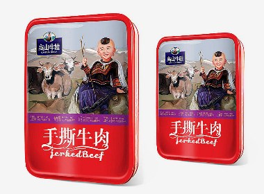 包装设计×2个手撕牛肉品牌包装设计×牛肉干×火麒麟