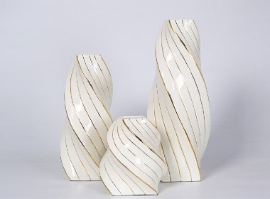 后现代简约轻奢美欧法式样板间几何陶瓷花器扭纹花器客厅书房摆件
