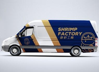 April作品「鮮蝦工廠」海鮮水產品牌logo設計