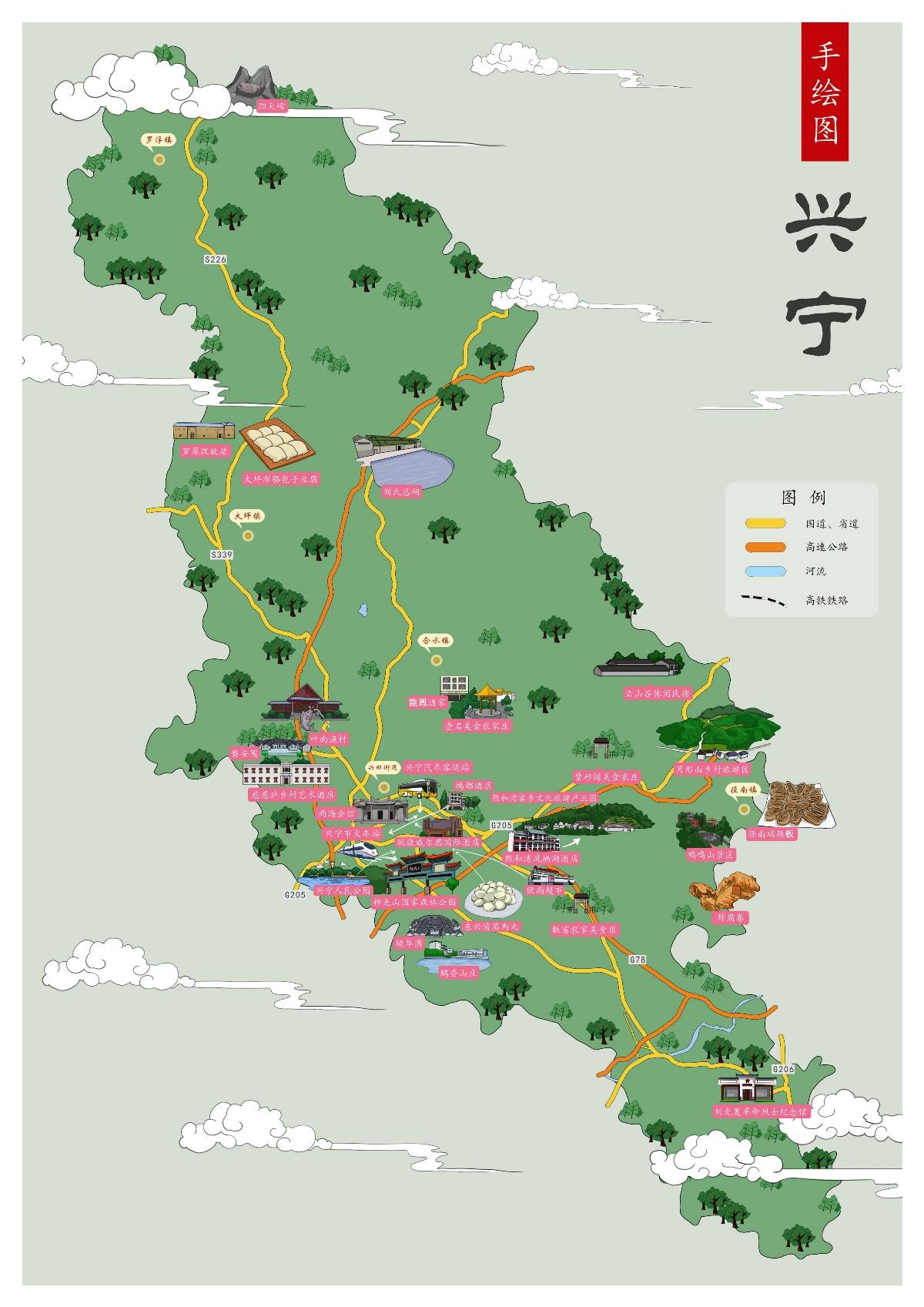 梅州市各区旅游手绘地图