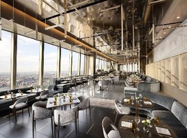 餐厅占据着整层的空间,享有一览无余的城市景观
