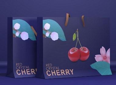 樱桃车厘子手提袋、水果通用手提袋、插画风、唯美高端